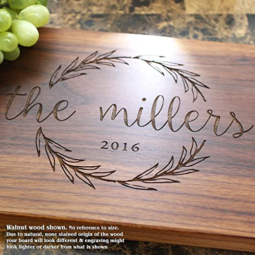 Amazon Olive Wreath Personalized Engraved Cutting Board