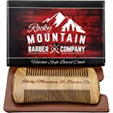 Beard Comb - Sandalwood Natural Hatchet Style for Hair - Anti-Static & No Snag, Handmade Wide & Fine Tooth Contour Brush Best