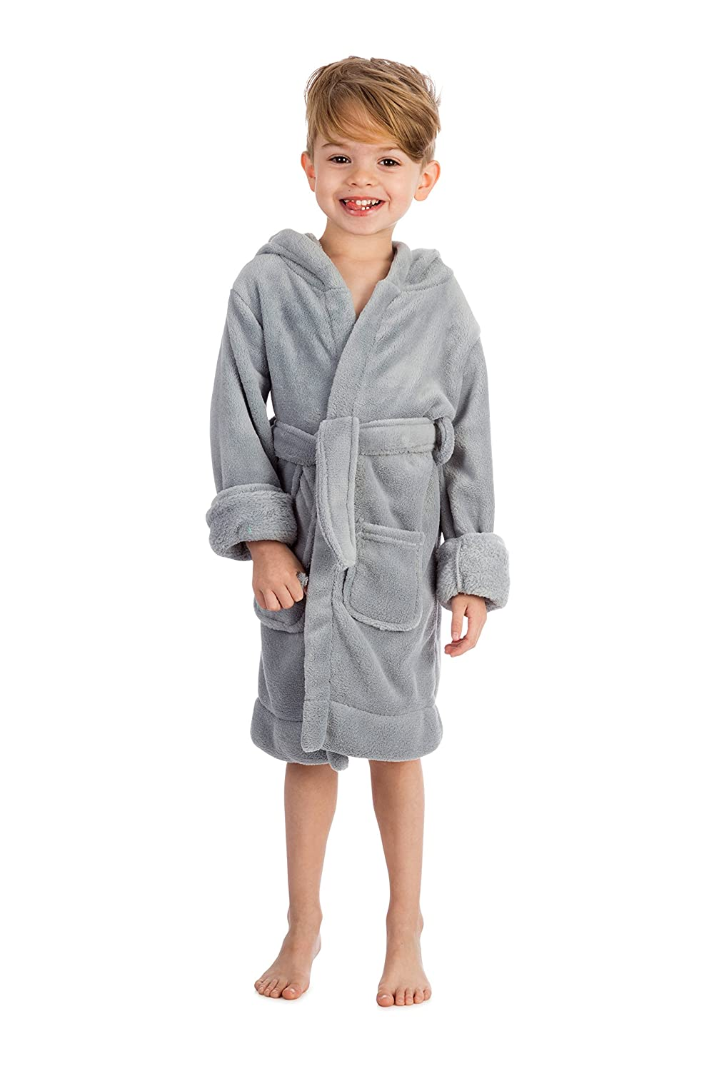 Elowel Boys Girls Hooded Childrens Fleece Sleep Robe Size 2 Toddler -14Y