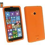 Emartbuy® Silicon Skin Case Cover Orange For Microsoft Lumia 535
