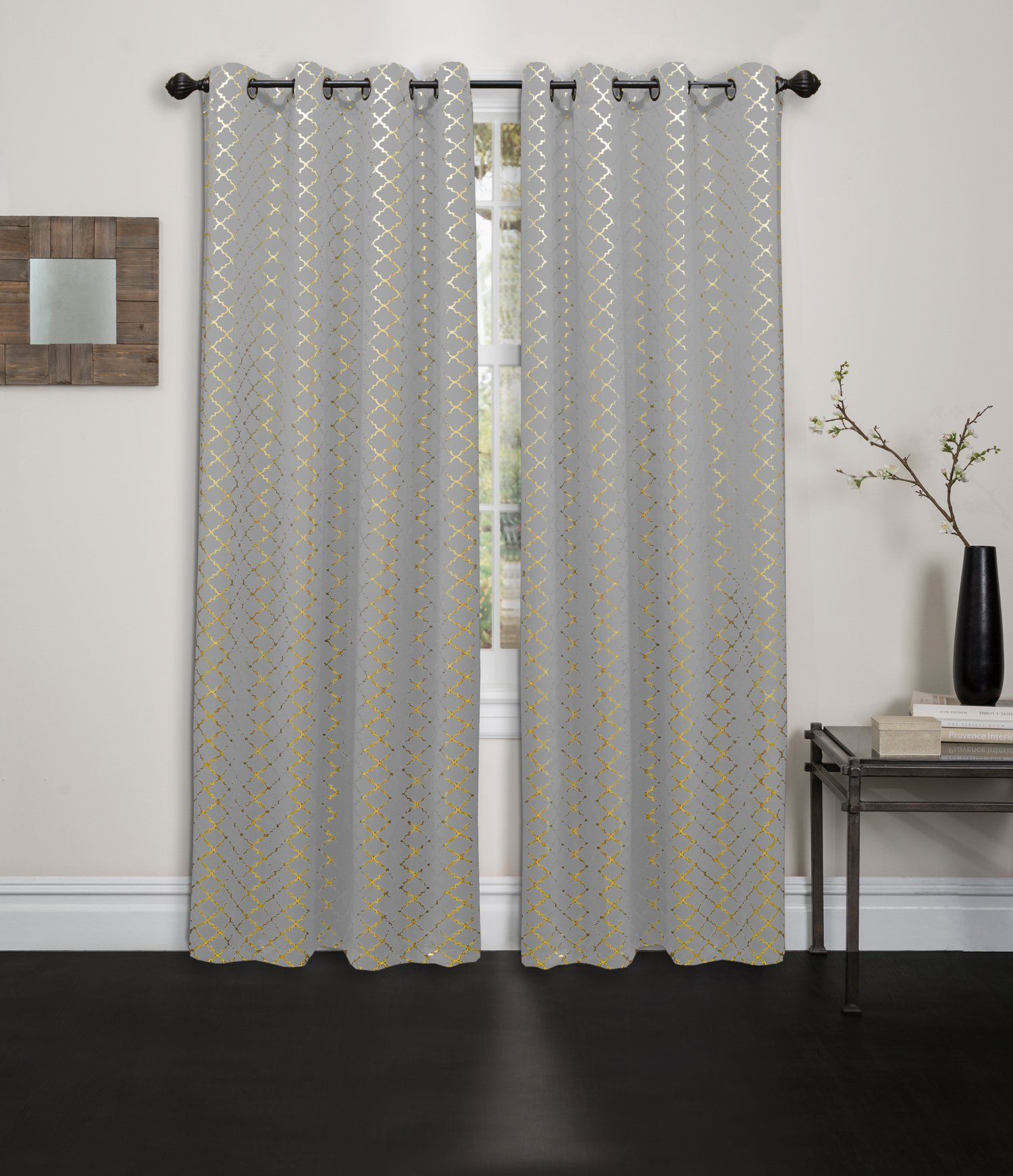 Kashi Home Natalie Printed 54X84 Grommet Blackout Curtain, Cloud/Gold - Perfect Size: the printed blackout curtain measures 54L x 84W Durably Made: this 54x84 grommet curtain is light weight material Made from 100Percent polyester Versatile: this grommet blackout curtains are ideal curtains for bedroom, living room, kitchen, kids room and so on - living-room-soft-furnishings, living-room, draperies-curtains-shades - 81JqjlF2TIL -