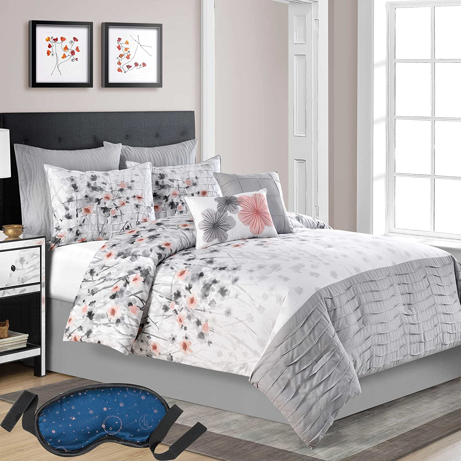 amazoncom modern elegant luxury pleated grey bedding floral and  - amazoncom modern elegant luxury pleated grey bedding floral and coralhues printed comforter set cal king ( piece bed in a bag) with sleepmask home