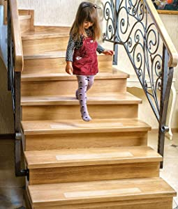 """Non-Slip Clear Stair Treads - 15 Pack Outdoor & Indoor Adhesive Strips for Stairs 4""""x24"""" - Anti Skid Step Guard for Traction & Grip - Vinyl Mats Covers for Steps - Weather Resistant Tread Grips"""