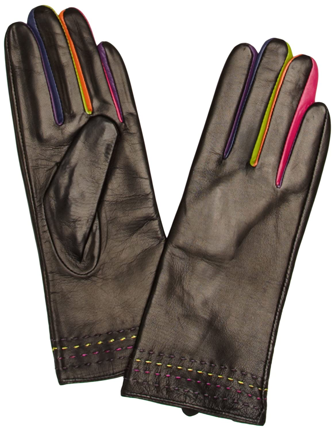 Black leather gloves with coloured fingers - Pia Rossini Women S Montreal Gloves