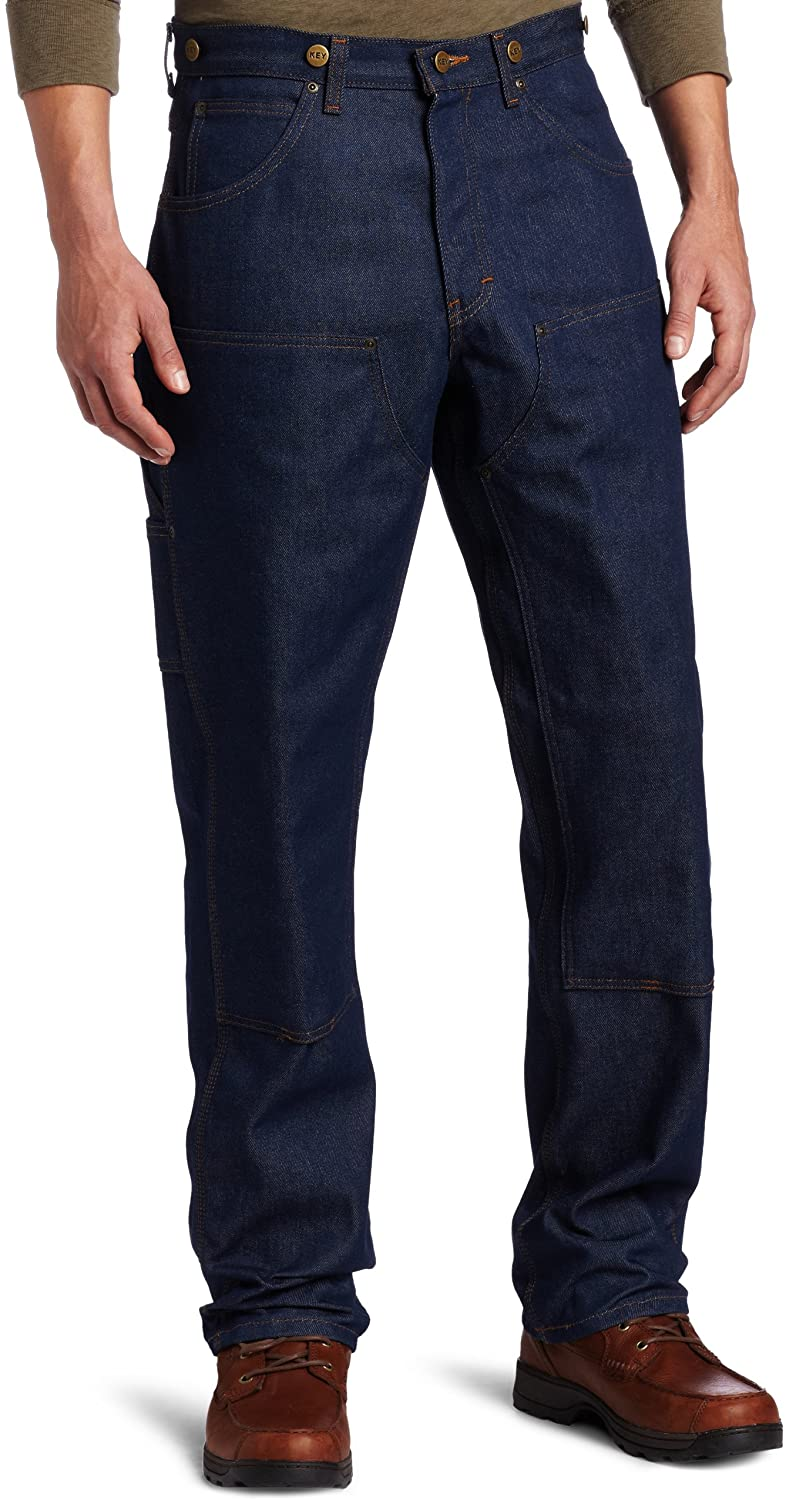 1920s Men's Clothing Key Industries Mens Indigo Denim Double Front Logger Dungaree Pant $32.99 AT vintagedancer.com
