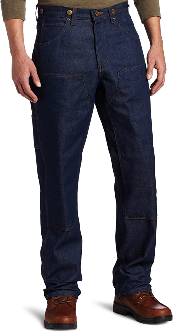 1920s Men's Fashion UK | Peaky Blinders Clothing Key Industries Mens Indigo Denim Double Front Logger Dungaree Pant £71.99 AT vintagedancer.com
