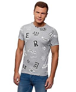 oodji Ultra Homme T-Shirt en Coton sans Étiquette avec Imprimé de Foot, Gris, FR 52-54 / L