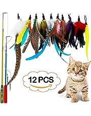 LlorenteRM Katzenspielzeug, interaktives Feder-Teaser mit 2 Stangen, 10 Befestigungen, Wurmvögel, Federn für Kätzchen und Katzen, Weihnachtsgeschenke