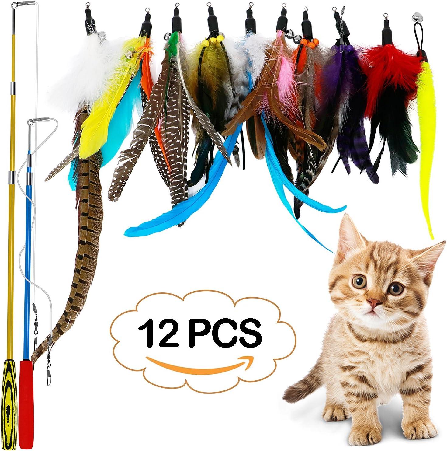 LlorenteRM Juguetes para Gatos interactivos de Plumas de Peluche retráctil con 2 Varillas 10 Accesorios Gusano pájaros Plumas para Gatos