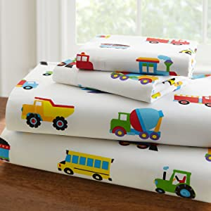 Wildkin Full Sheet Set, 100% Cotton Full Sheet Set with Top Sheet, Fitted Sheet, and Two Pillow Cases, Bold Patterns Coordinate with Other Room Décor, Olive Kids Design – Trains, Planes, & Trucks