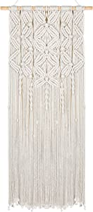 AMFEOV Boho Macrame Wall Hanging-Boho Chic Wall Decor- Macrame Tapestry Wall Hanging-Hanging Macrame Wall Decor for Apartment Bedroom Living Room Dorm Room (Beige 15.7''35.4'') (Beige-Leaf)