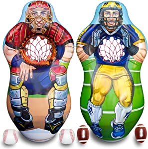 ImpiriLux Inflatable 5 Foot Tall Double Sided Football Receiver and Baseball Catcher Target Trainer Set   Includes One Inflatable with Two Sided, 2 Plush Footballs, 2 Plush Baseballs