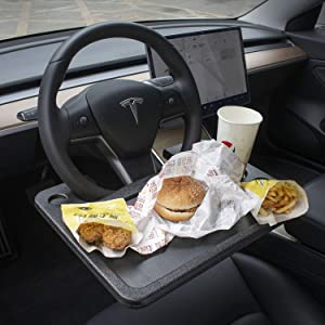 CarQiWireless Tesla Model 3 Model Y S X Auto Steering Wheel Desk Car Table Steering Wheel Tray for Laptop, Tablet, iPad Or Notebook Car Travel Table, Food Eating Hook Eating Table
