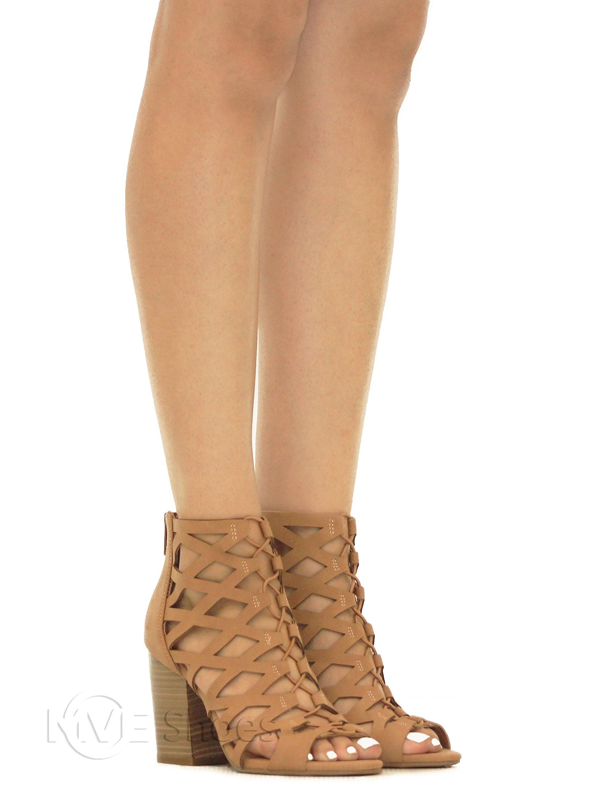 MVE Shoes Women's Open Toe Strappy Back Zipper Chunky Heel, tan nb Size 10 by MVE Shoes (Image #5)