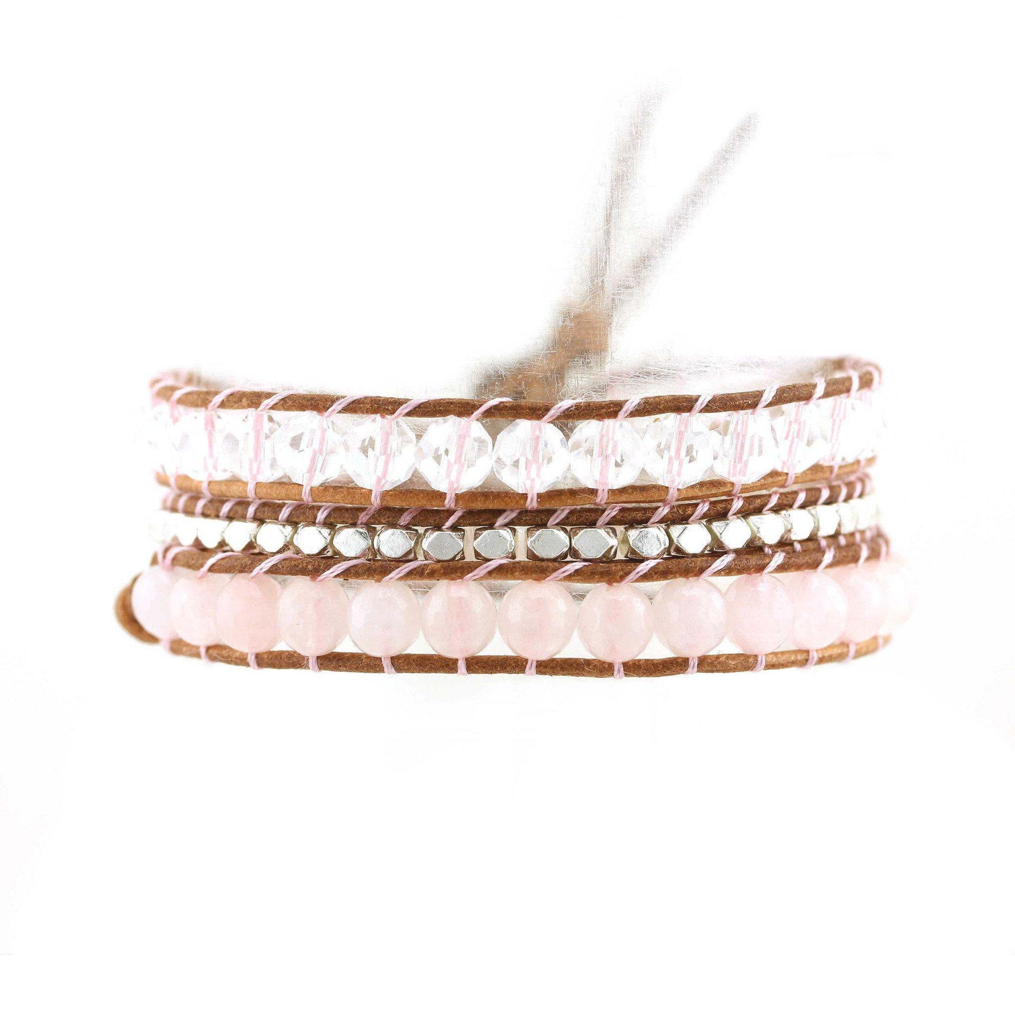 Balla Pink Jade Beaded Double Wrap Bracelet Choker Genuine Leather Bohemian Layered Style for Women Girls Teens by by Balla