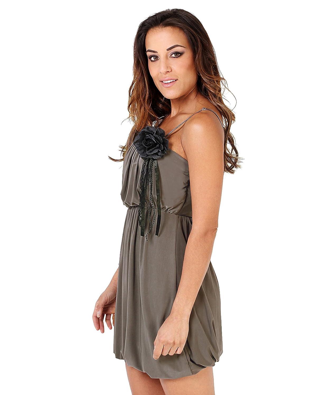 KRISP Damen Mini Trägerkleid Tunika mit Anstecker