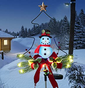 Doingart Outdoor Solar Light Christmas Decorations, Snowman Christmas Light with Faux Red Berry, Foliage Accents Garden Decor Stakes
