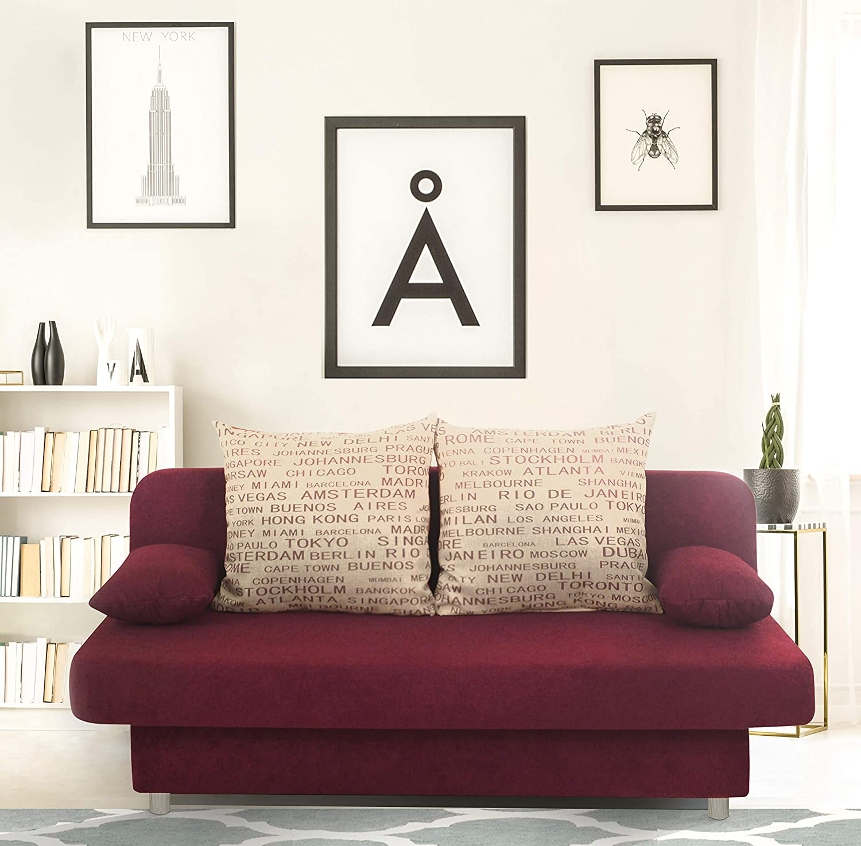 Schlafsofa Orlando-PUR Mikrofaser Rot-Grau, 186x85 cm