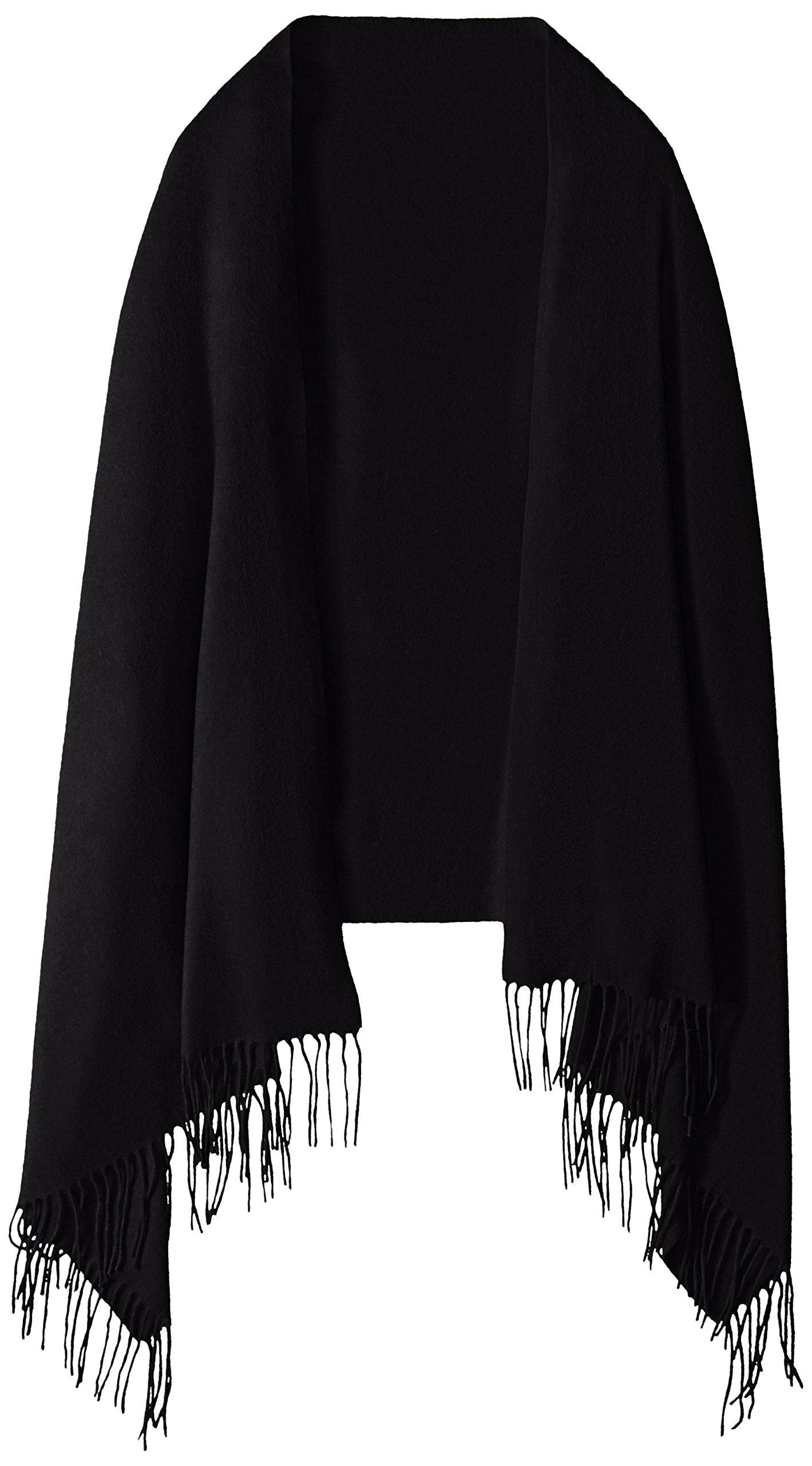 Phenix Cashmere Women's Solid 100 Percent Cashmere Wrap, Black, One Size