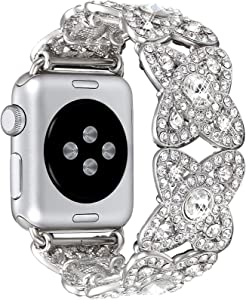 Morning Tree Compatible for Apple Watch Band 38mm/40mm Series 6 SE 5 4 3 2 1 for Women/Girls, Iwatch Bling Bracelet Diamond Rhinestone Metal Elastic Jewelry Wristband Strap Bangle 42mm/44mm (Silver, 38mm/40mm)