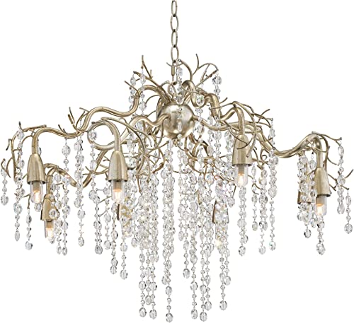 Branches Silver Champagne Large Chandelier 31 Wide Modern Clear Crystal Strands 8-Light Fixture for Dining Room House Foyer Kitchen Island Entryway Bedroom Living Room – Possini Euro Design