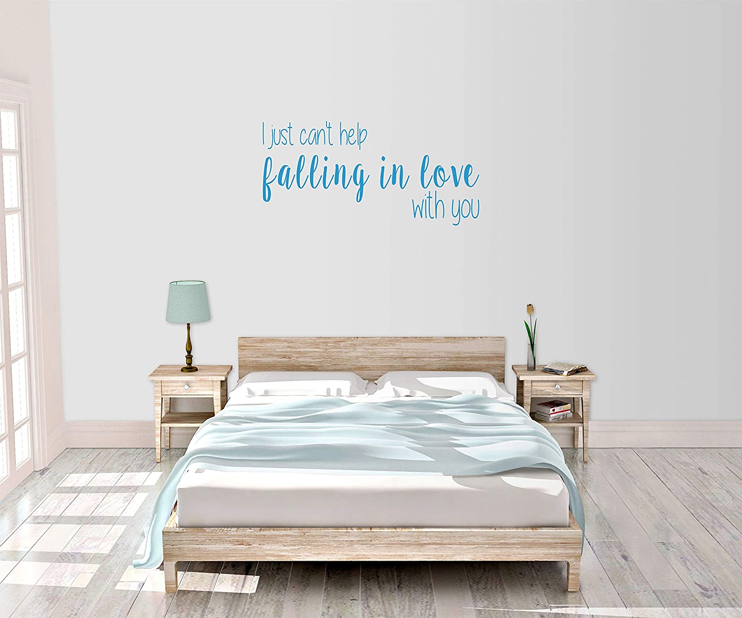 Amazon Com I Just Can T Help Falling In Love With You Romance Bedroom Decor Wall Art Vinyl Decal Sticker Made In Usa Home Kitchen