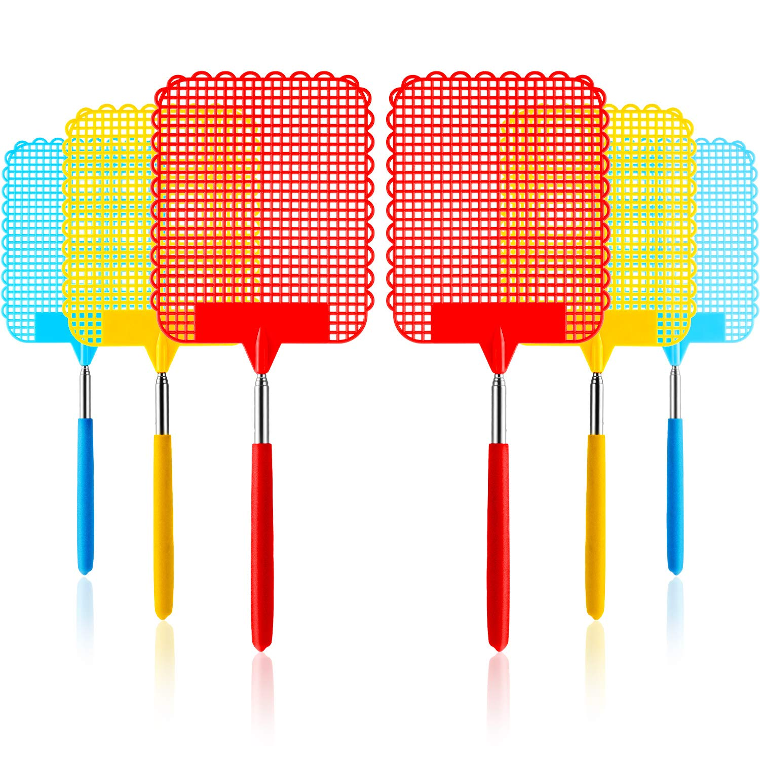 Tatuo Large Extendable Fly Swatter, Manual Swat Pest Control with Strong Flexible Durable Telescopic Handle, Lightweight (Multicolor C) by Tatuo
