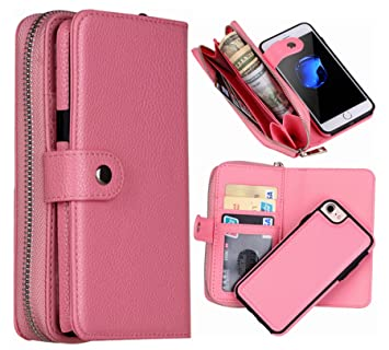 5bb17df8ee2e iPhone 8 Wallet Case, iPhone 7 Case Hynice Magnetic Detachable Wallet Case  PU Leather Purse With Zipper Pocket Card Slot Card Holder Removable Slim ...