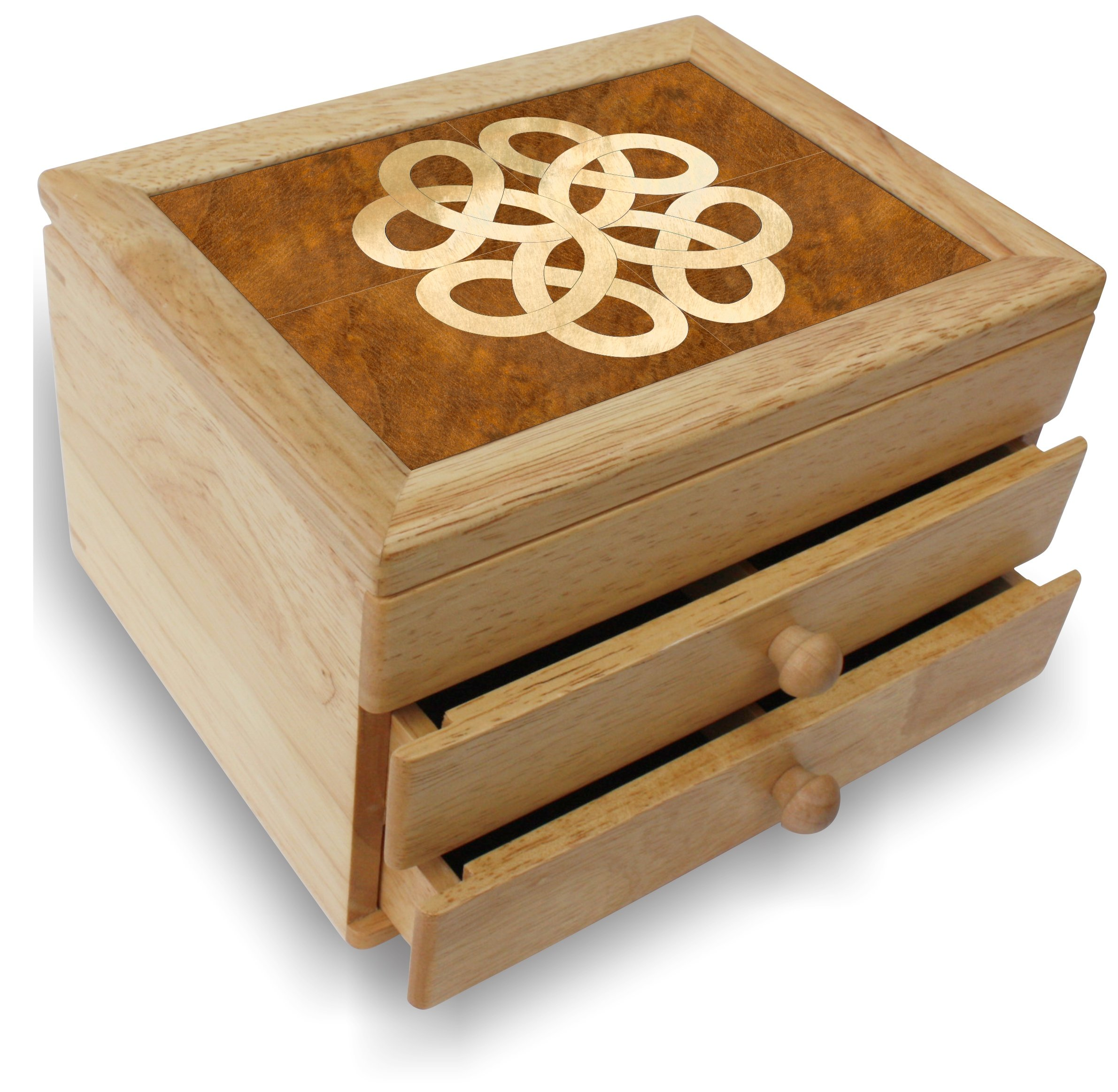 Wood Art Celtic Box - Handmade USA - Unmatched Quality - Unique, No Two are the Same - Original Work of Wood Art. A Celtic Gift, Ring, Trinket or Wood Jewelry Box (#6852 Celtic 2 Drawer) by MarqART (Image #1)