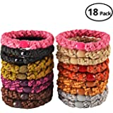 18 Pcs: HBY Thick Solid Stretch Pony Elastics Ponytail Holders