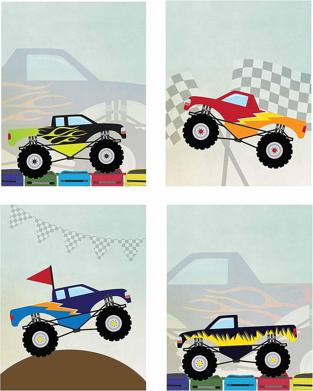 Amazon Com Artdash Brand Decorative Bedroom Art Prints Dr046 Monster Trucks 8 By 10 Set Of 4 Prints Posters Prints