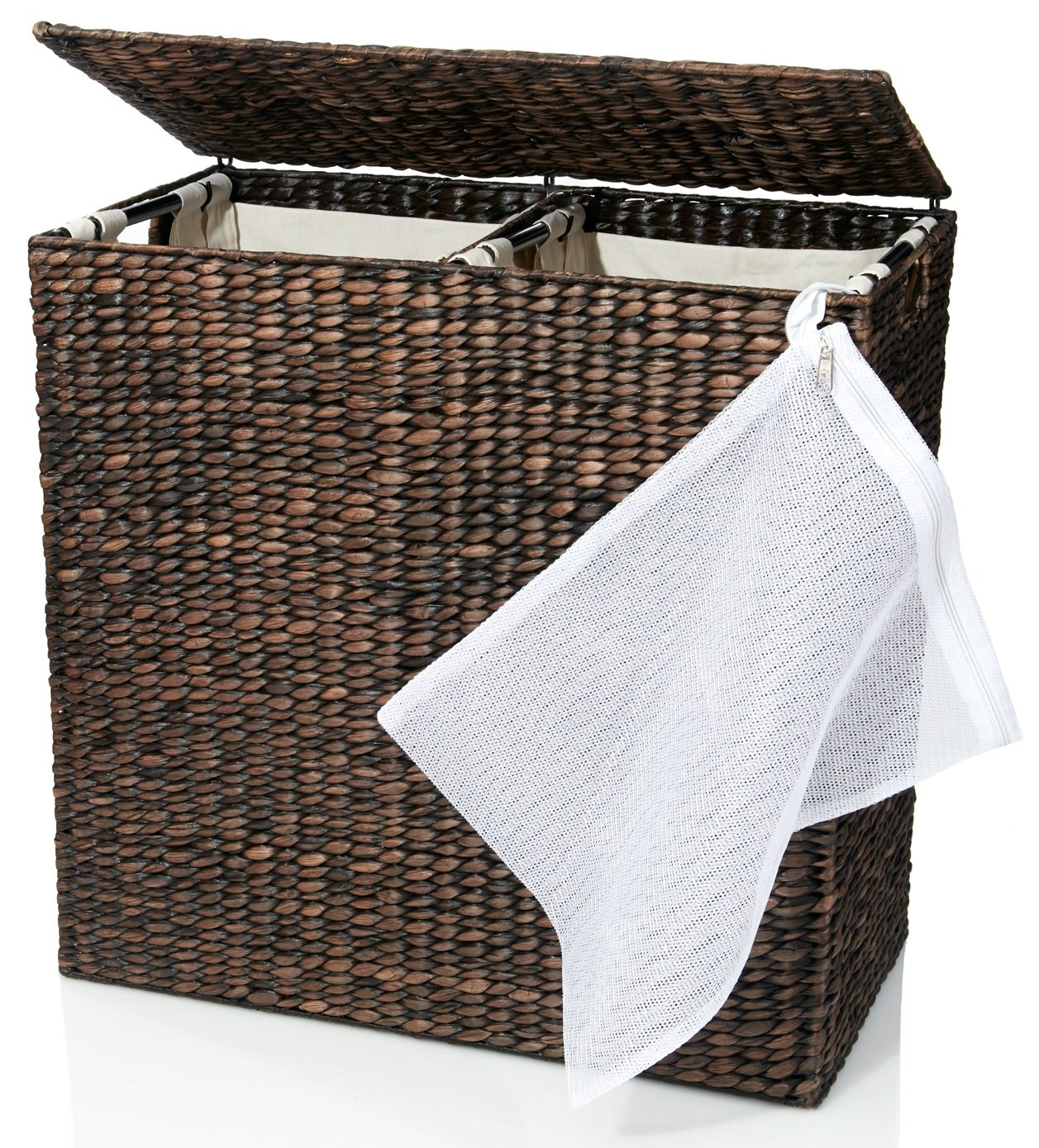 Designer Wicker Laundry Hamper with Divided Interior and Laundry Basket Bags - Espresso Water Hyacinth Hamper with Lid, Includes Two Removable Laundry Liners and Delicates Mesh Laundry Bag - NO MORE UGLY PLASTIC HAMPERS: Woven carefully by hand, this water hyacinth laundry hamper is a perfect stylish and eco-friendly addition to any home. It's beautiful espresso finish and delicate weaving make it a decorative as well as functional item. Each laundry basket features a flip open lid and wide carrying handle on the side. Dimensions: 24-Inch wide x 13-Inch deep x 24-Inch high. Weight: 11.5 pounds DIVIDED INTERIOR SEPARATES LIGHTS AND DARKS: Do away with multiple laundry baskets with this dual interior water hyacinth laundry hamper. Open up the sturdy lid to find two separate hanging cotton bags that can hold lights and darks, his and hers, or any other combination you can think of! CARRYABLE COTTON BAGS MAKE LAUNDRY EASY: Now there's no need to lug a bulky laundry basket from the bedroom to the laundry room. Simply remove the two individual canvas liner bags (which are washable by the way) that hang from sturdy hooks inside the laundry hamper. The carrying poles make them easy to lift out of the basket and transport to the washing machine. - laundry-room, hampers-baskets, entryway-laundry-room - 81Jr0E12HAL -