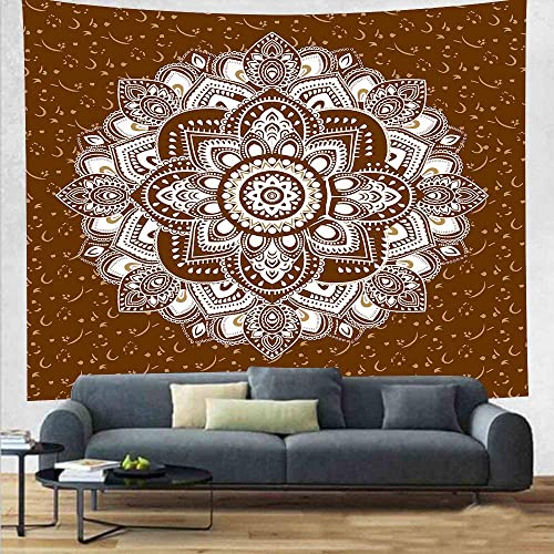 DBLLF Lotus Mandala Tapestry Indian Mandala Tapestry Wall Hanging Lotus Printed Hippie Tapestry Decorative Wall Blanket Table Cloth 84 90Inches DBLX006