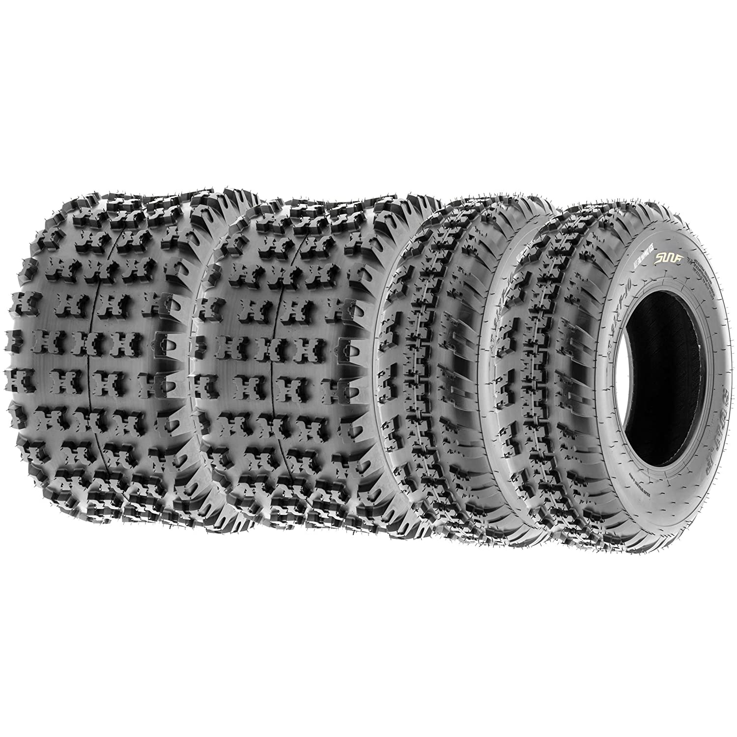 SunF All Terrain Trail Replacement ATV UTV 6 Ply Tires 21x7-10 & 22x11-9 Tubeless A031, [Set of 4] LCF1|A031|210710|221109|x4