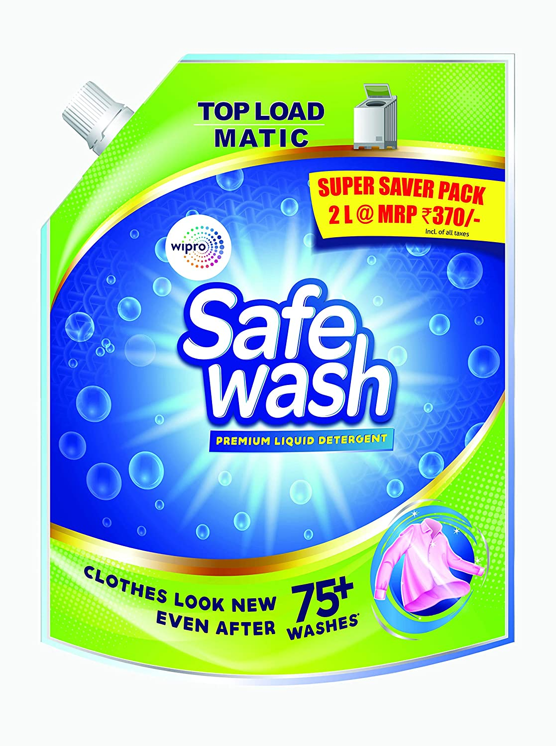 Safewash Matic Top Load Liquid Detergent by Wipro, 2L