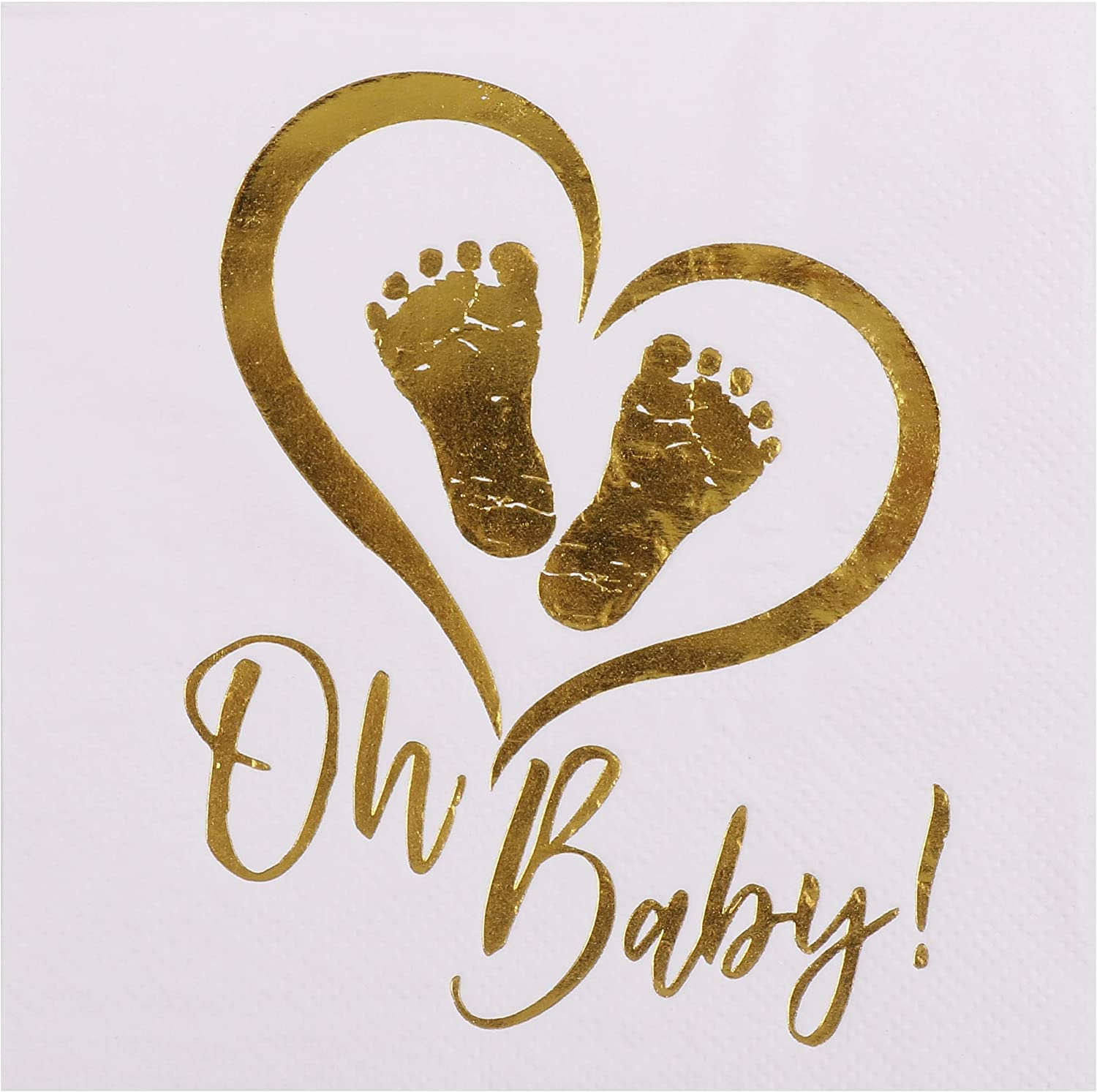 DesignReady Baby Shower Cocktail Napkins, Gold Foil on White (100-Pack) | 3-Ply, 5x5 Inches