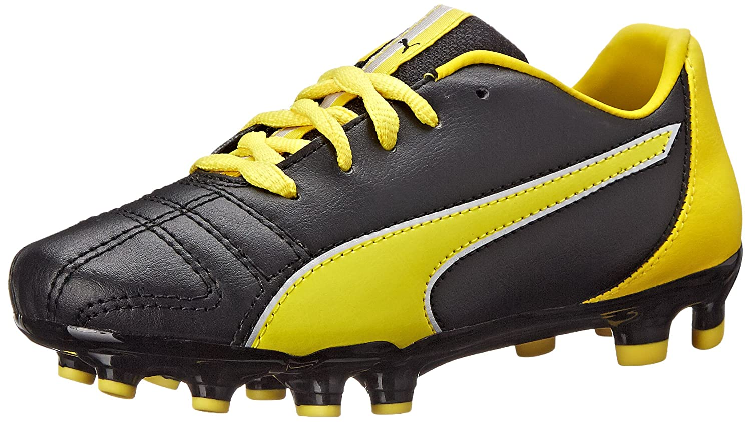 Puma Marco 11 Firm Ground Jr Soccer Schuhe (Infant Toddler Little Kid Big Kid), schwarz Vibrant Yellow Silver, 5.5 M US Big Kid
