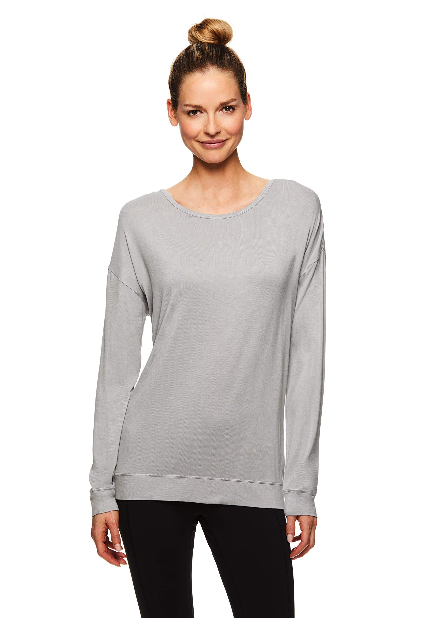 Gaiam Women's Long Sleeve Yoga & Workout T Shirt - Activewear Top w/Open Back Detail - Emma Dapple Grey, X-Small by Gaiam