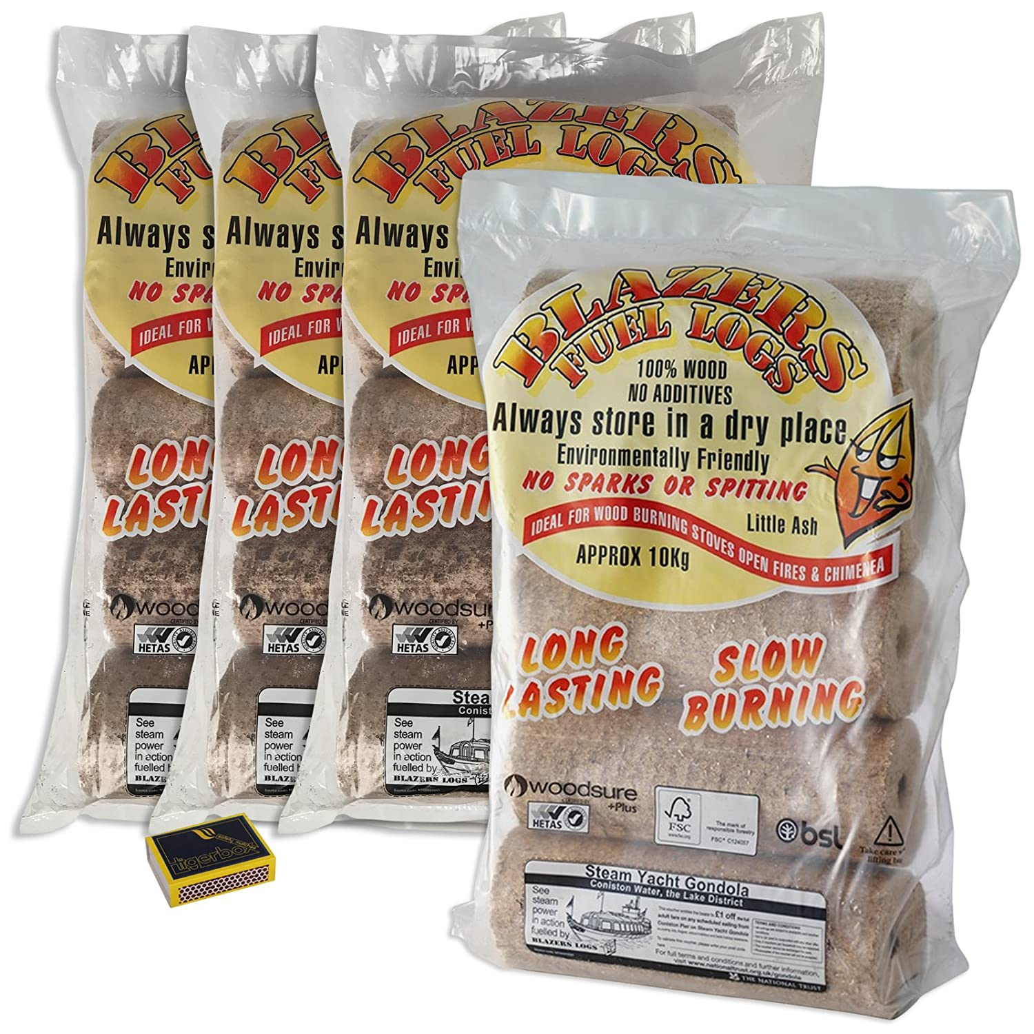 5 Pack (10KG / 1 Bag) Blazers Fuel Logs HETAS Approved, Woodsure Plus & BSL Certified. Fuel for Firewood, Open Fires, Stoves and Log Burners and Tigerbox Safety Matches Shop4accessories