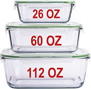 LARGE Glass Containers for Food Storage with Lids Container Baking Dish Set Glass Storage Containers with Locking Lid Set 3 112 OZ/60 OZ/26 OZ Large Glass Meal Storing Serving Food Leakproof Ovensafe