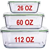 LARGE Glass Containers for Food Storage with Lids Container Baking Dish Set Glass Storage Containers with Locking Lid…