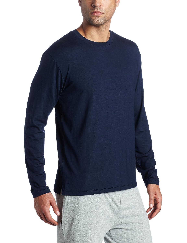 Derek Rose Mens Long Sleeve Crew Neck Top Naturally by Derek Rose Mens Sleepwear 3083-BASE001