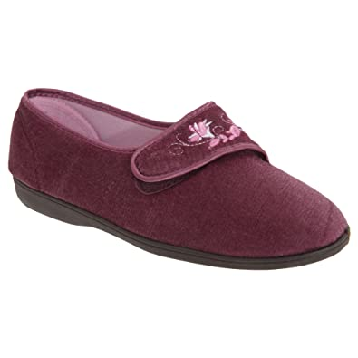 Sleepers JOLENE Ladies Velour Embroidered Floral Touch Close Slippers Heather