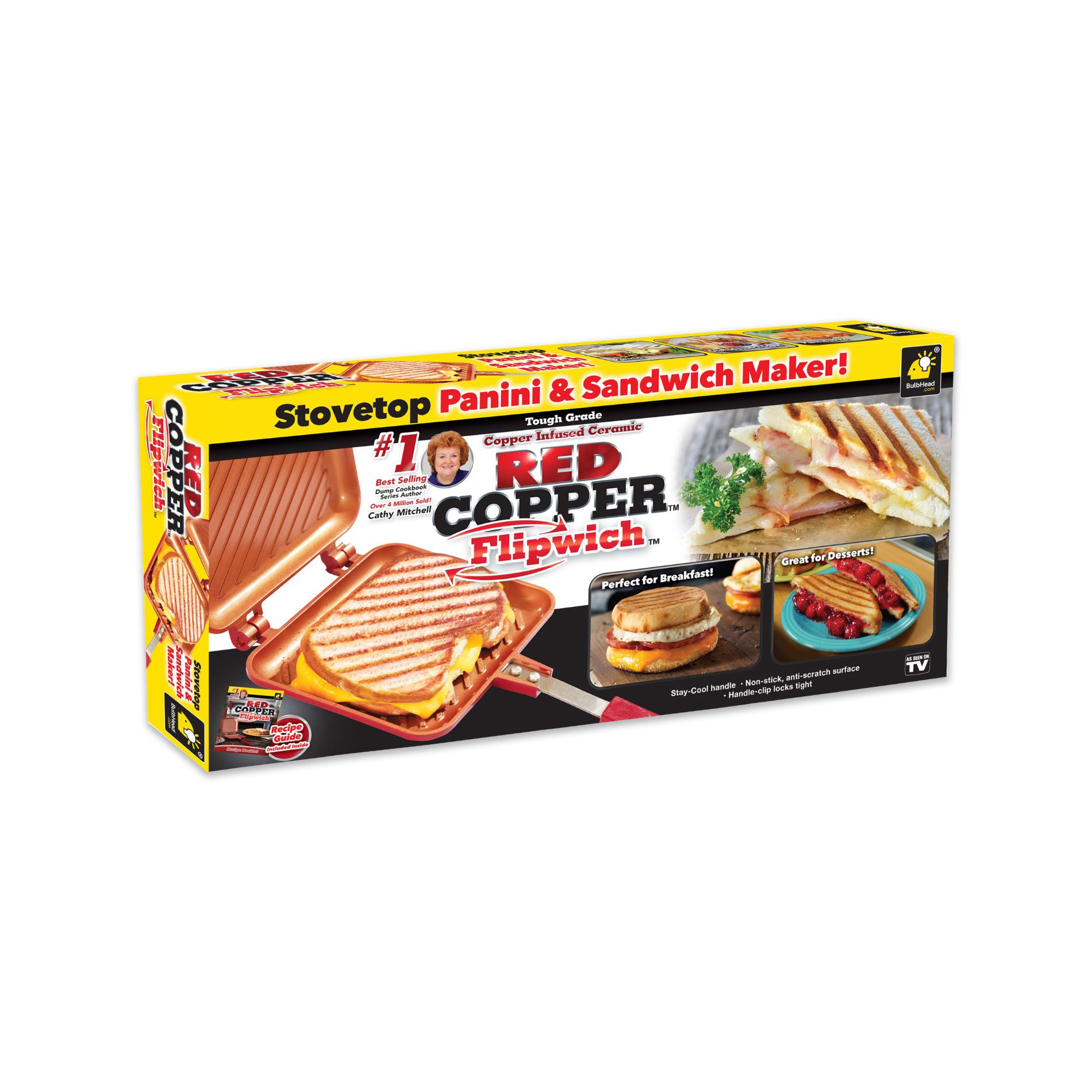 Red Copper Flipwich Non-Stick Grilled Sandwich and Panini Maker by BulbHead (1 Pack) by BulbHead (Image #2)