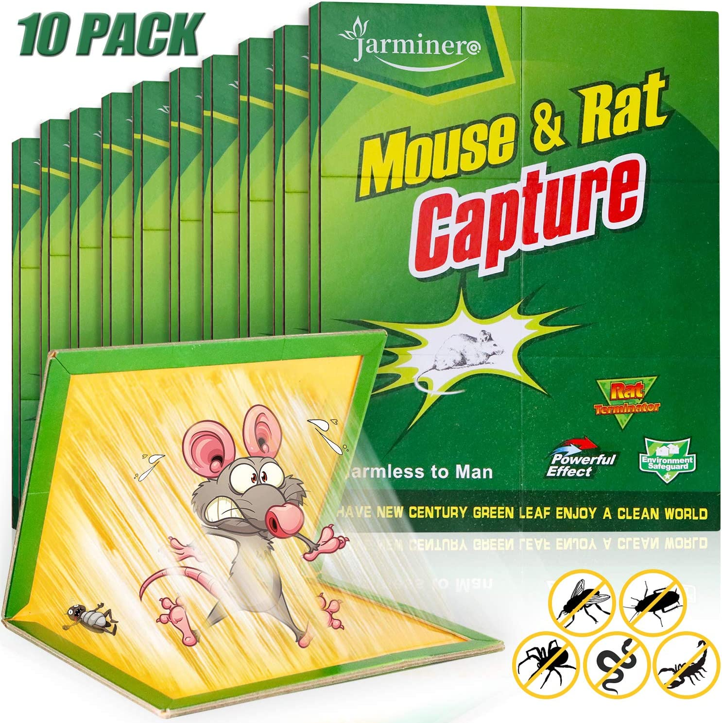 JARMINERO Mouse Traps, Humane Mouse Glue Trap, 10 PCS Rat/Mice Traps Sticky Pad Boards Strongly Adhesive Mouse Traps That Work No See Kill for House Indoor Outdoor Pet Safe