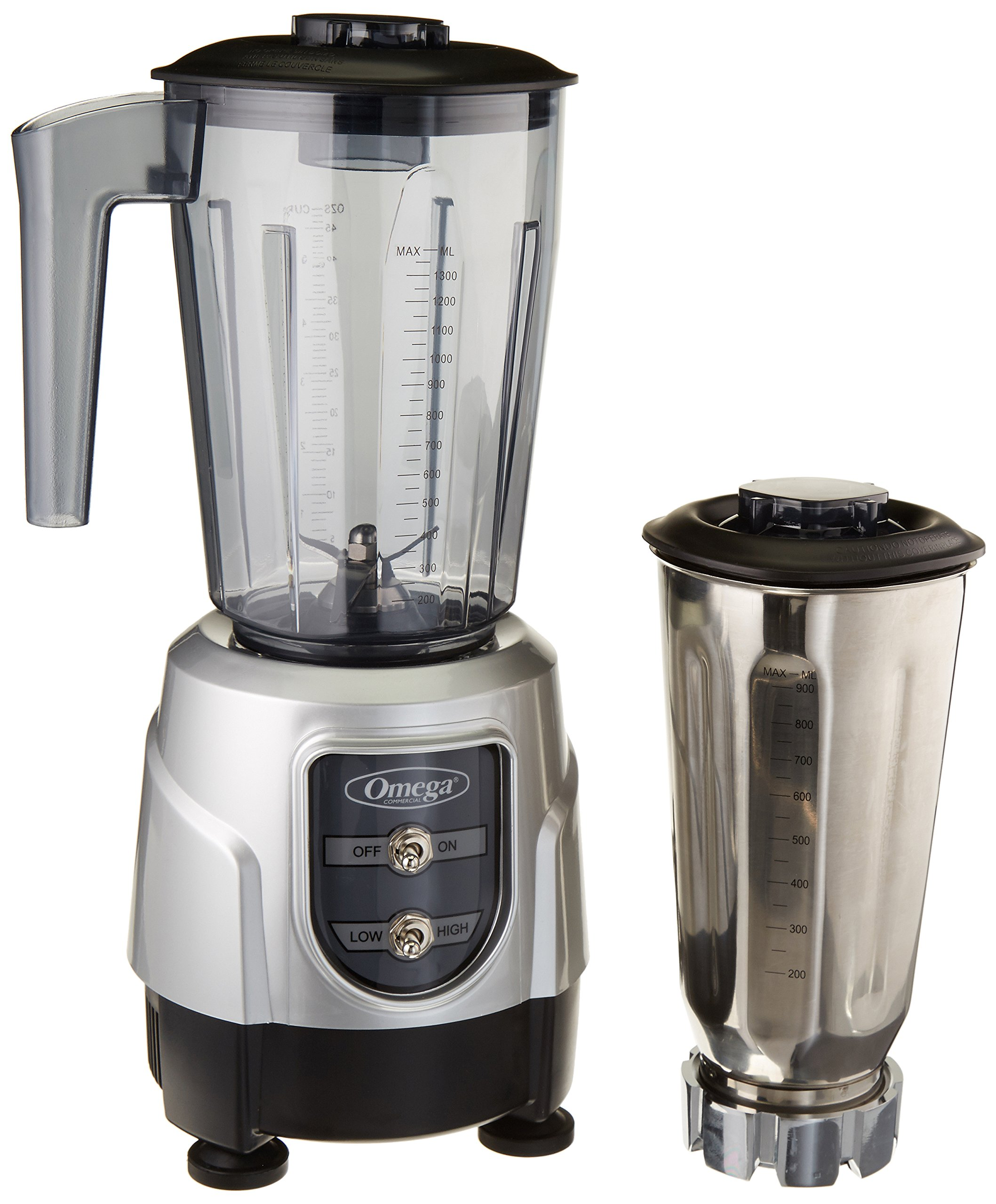 Omega BL390S 1-HP Blender, Tritan Copolyester and Stainless Steel Container Combo Pack, Silver