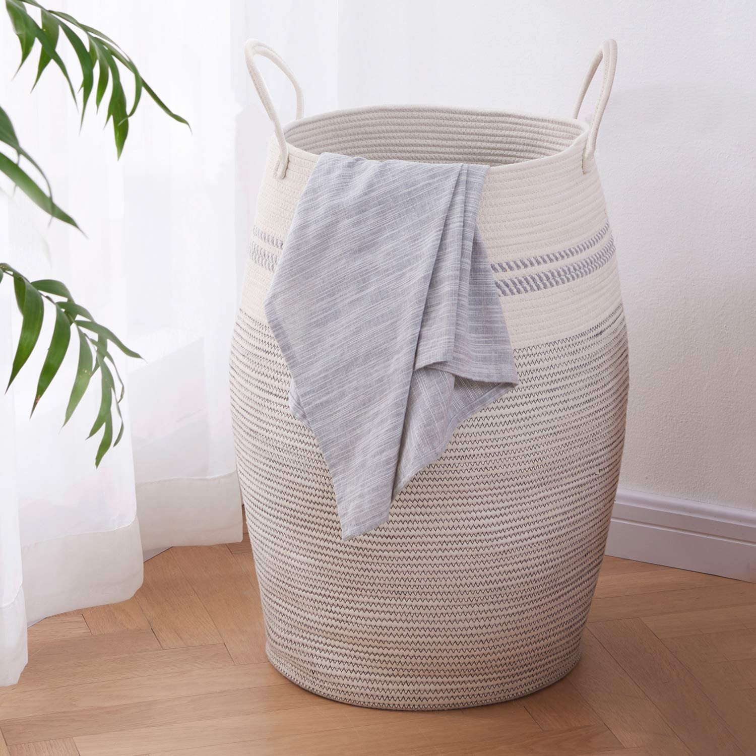 "OIAHOMY Laundry Hamper Woven Cotton Rope Large Clothes Hamper 25.6"" Height Tall Laundry Basket with Extended Cotton Handles for Storage Clothes Toys in Bedroom, Bathroom, Foldable (Light Grey)"