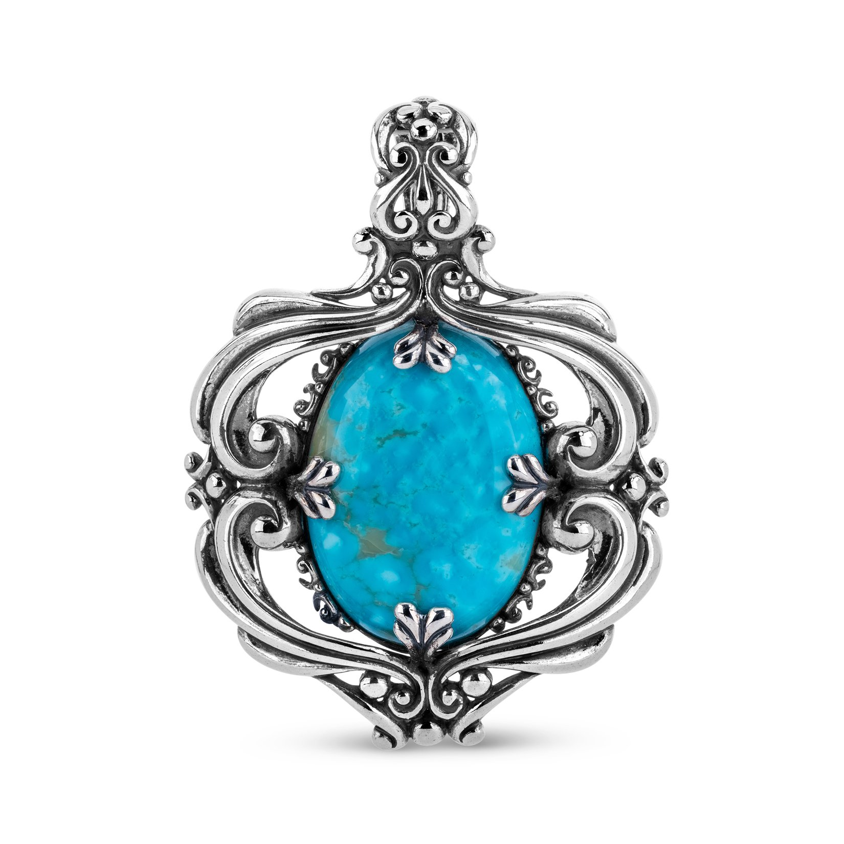 Carolyn Pollack Genuine .925 Sterling Silver Teal Blue Kingman Turquoise Pendant Enhancer