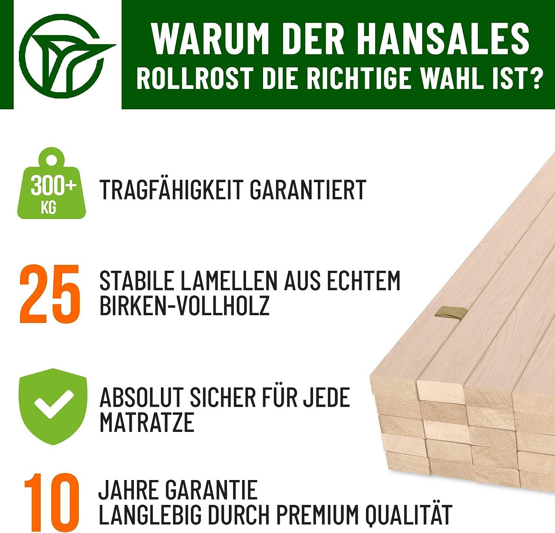 25 doghe di Legno di Alta qualit/à Portata Massima 300 kg HansaBirke Rete a doghe 100 x 200 cm in Legno di Betulla
