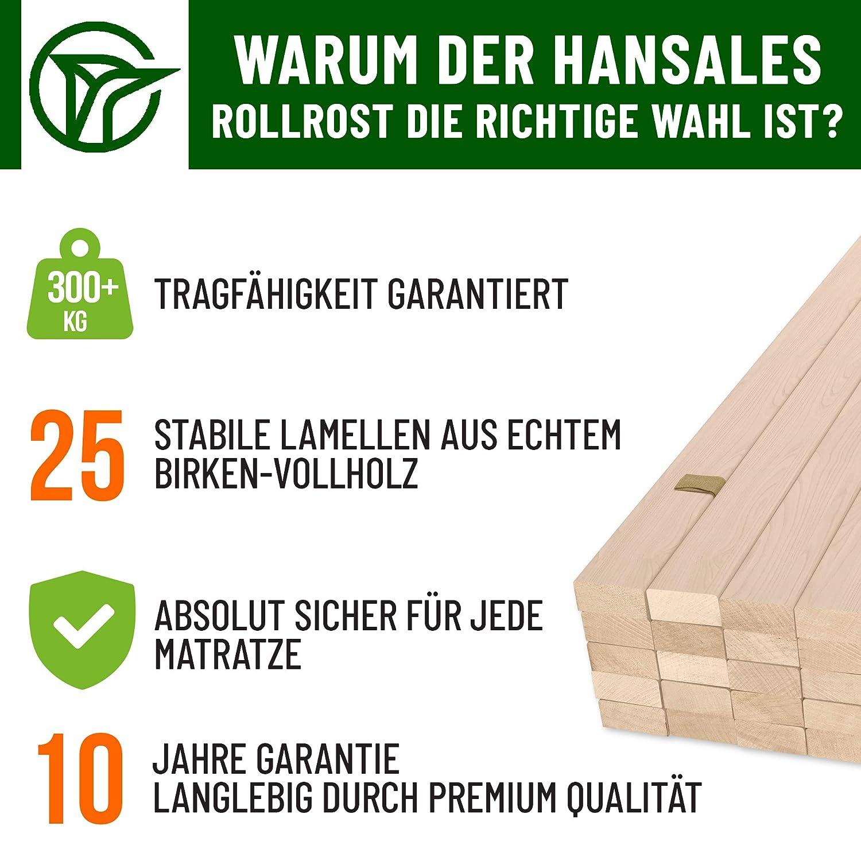 Portata Massima 300 kg 25 doghe di Legno di Alta qualit/à HansaBirke Rete a doghe 100 x 200 cm in Legno di Betulla